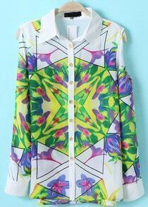 Green Lapel Long Sleeve Floral Chiffon Blouse