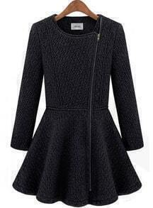 Black Long Sleeve Zipper Ruffle Woolen Coat