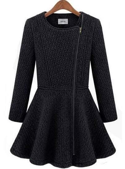 Black Long Sleeve Zipper Ruffle Woolen Coat