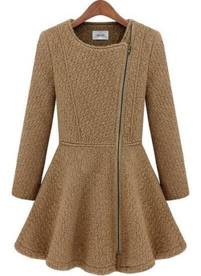 Camel Long Sleeve Zipper Ruffle Woolen Coat