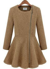 Camel Long Sleeve Zipper Ruffle Woolen Coat