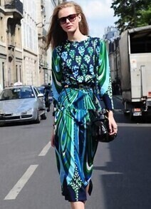 Blue Long Sleeve Abstract Print Top With Skirt