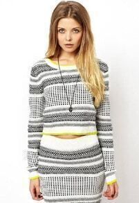 Grey Long Sleeve Striped Crop Knit Top With Skirt