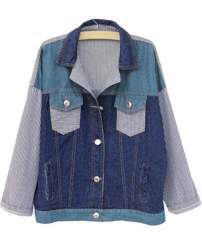 Blue Lapel Long Sleeve Striped Denim Jacket