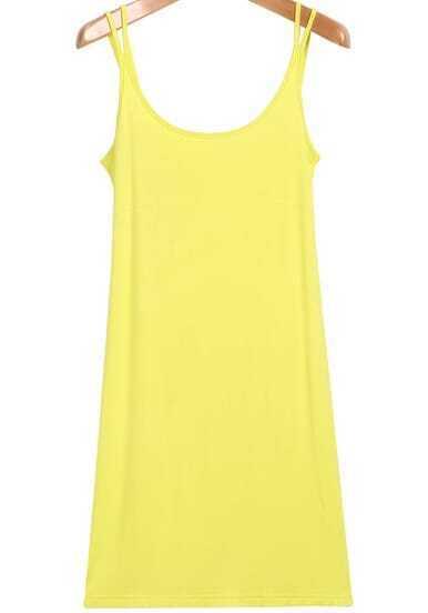 Yellow Spaghetti Strap Slim Vest