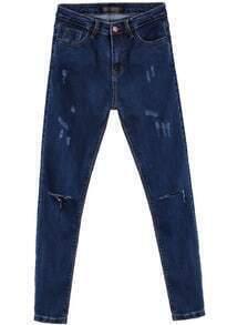 Blue Pockets Cut Ripped Denim Pant