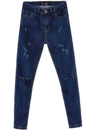 Blue Pockets Cut Ripped Denim Pant