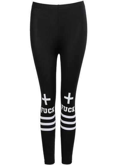 Black Slim Striped Letters Print Leggings