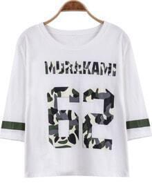 White Half Sleeve 62 Print Loose T-Shirt