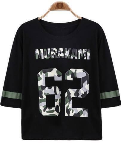 Black Half Sleeve 62 Print Loose T-Shirt