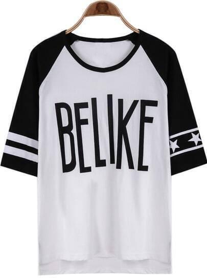 White Half Sleeve BELIKE Print Loose T-Shirt