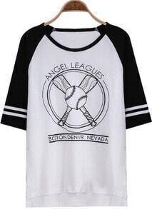 White Half Sleeve Baseball Print Loose T-Shirt