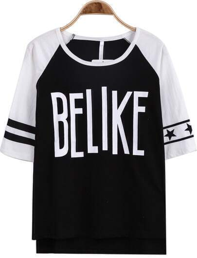 Black Half Sleeve BELIKE Print Loose T-Shirt