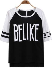 Black Half Sleeve BELIKE Print Loose T-Shirt