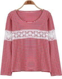 Red Long Sleeve Lace Striped Loose T-Shirt