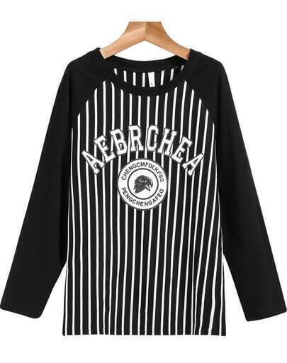 Black Long Sleeve Vertical Stripe Letters Print T-Shirt
