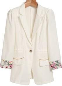 White Notch Lapel Contrast Floral Pockets Blazer