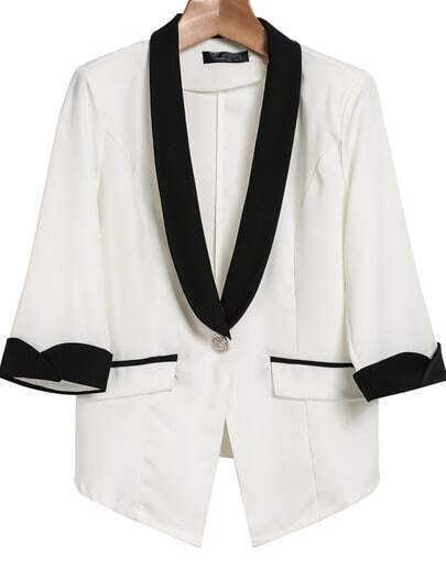 White Contrast Lapel Half Sleeve Pockets Blazer