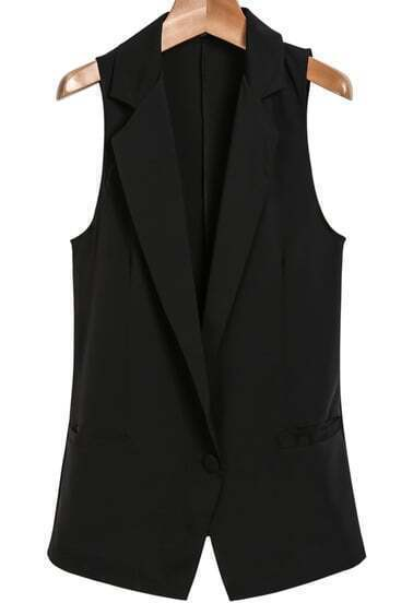 Black Notch Lapel Sleeveless Pockets Blazer