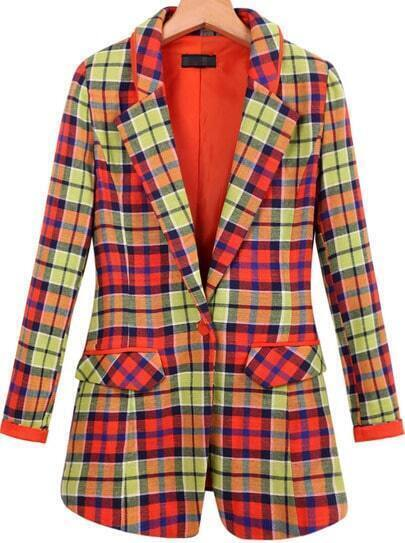 Orange Lapel Long Sleeve Plaid Pockets Blazer