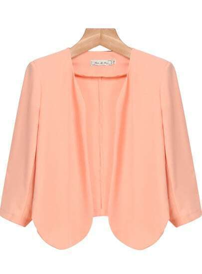 Pink Long Sleeve Crop Chiffon Outerwear