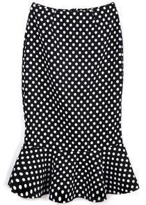 Black Slim Polka Dot Ruffle Skirt