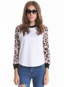 White Leopard Long Sleeve Loose Sweatshirt