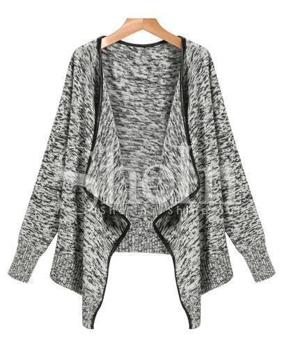 Grey Long Sleeve Trim Cardigan Sweater