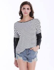 Black White Striped Contrast PU Leather Sleeve T-shirt