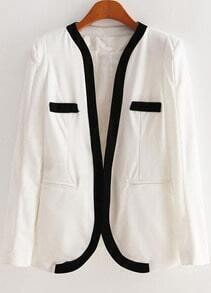 White Long Sleeve Contrast Trims Pockets Blazer