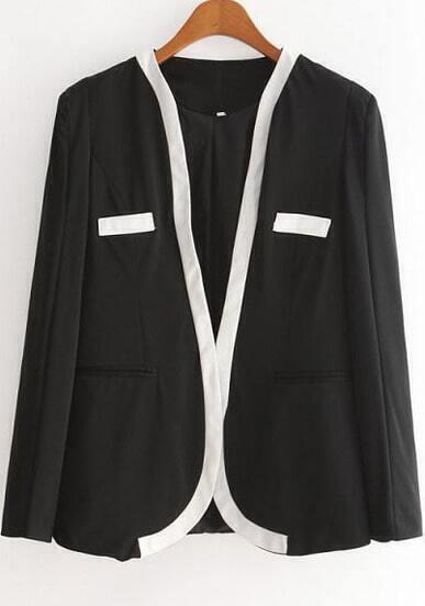 Black Long Sleeve Contrast Trims Pockets Blazer