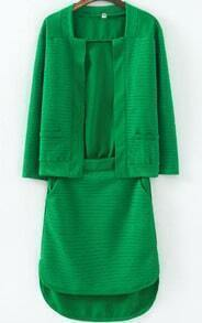 Green Long Sleeve Pockets Top With High Low Skirt