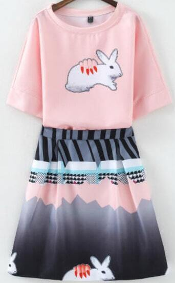Pink Short Sleeve Rabbit Print Top With Skirt