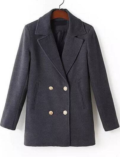 Black Lapel Long Sleeve Double Breasted Coat