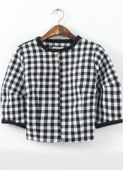 Black White Plaid Puff Sleeve Crop Coat