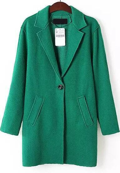 Green Lapel Long Sleeve Pockets Coat