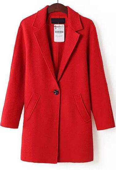 Red Lapel Long Sleeve Pockets Coat