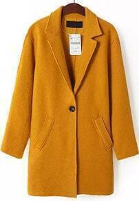 Yellow Lapel Long Sleeve Pockets Coat