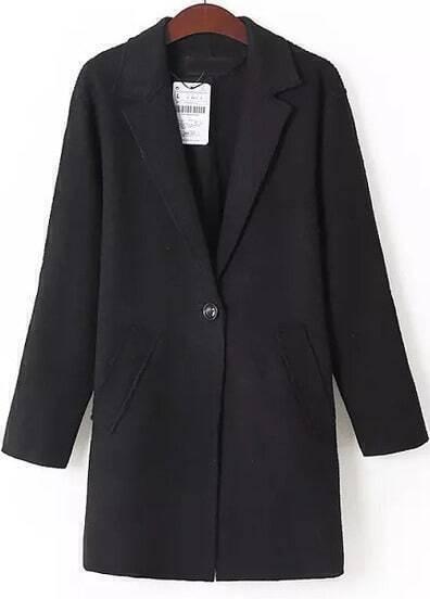 Black Lapel Long Sleeve Pockets Coat