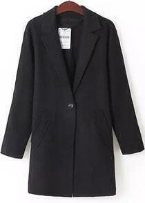Black Lapel Long Sleeve Pockets Coat