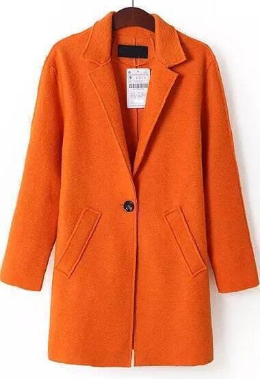 Orange Lapel Long Sleeve Pockets Coat