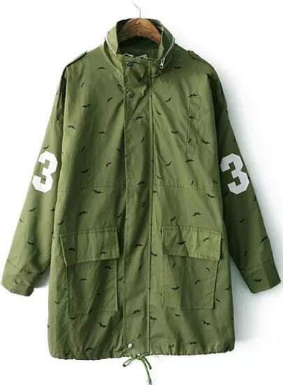 Green Long Sleeve Moustache Print Trench Coat