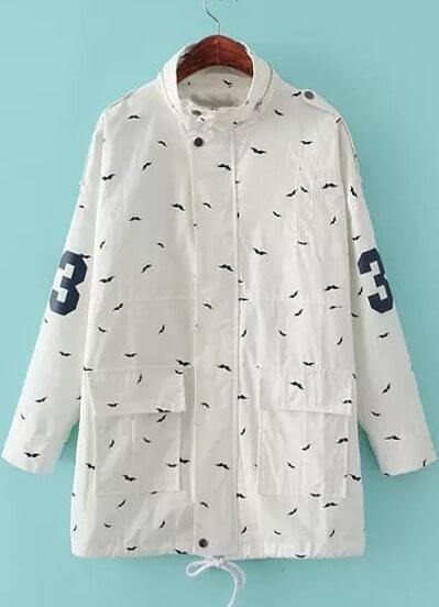 White Long Sleeve Moustache Print Trench Coat