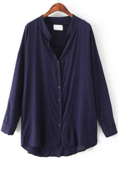 Navy Long Sleeve Loose Dipped Hem Blouse