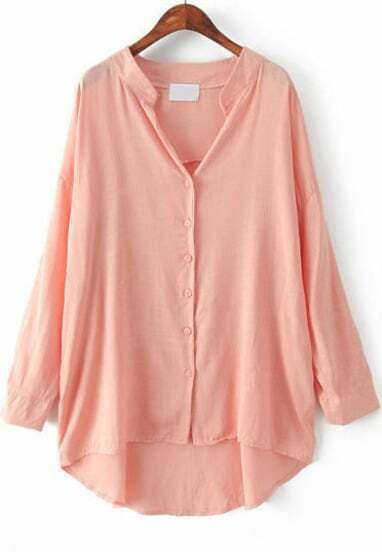 Pink Long Sleeve Loose Dipped Hem Blouse
