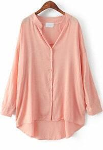 Pink Long Sleeve Loose Dipped Hem Blouse