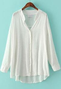 White Long Sleeve Loose Dipped Hem Blouse