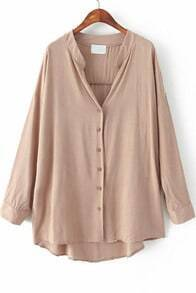 Khaki Long Sleeve Loose Dipped Hem Blouse