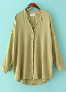 Green Long Sleeve Loose Dipped Hem Blouse