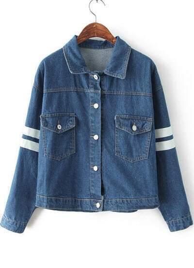 Blue Lapel Long Sleeve Letters Print Denim Jacket